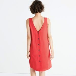 Madewell Coral Lakeshore Button Back Dress XS